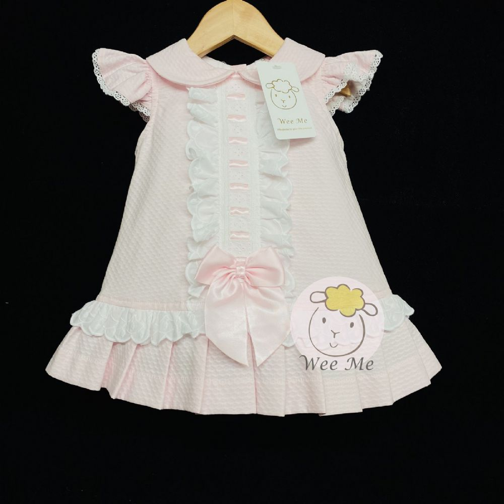 New Arrival Baby Girl Pink Spanish Dress Ribbon Insert Lace Big Bow